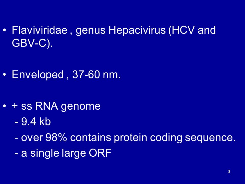 Flaviviridae, genus Hepacivirus (HCV and GBV-C). Enveloped, 37-60 nm. + ss RNA genome - 9.4 kb - over 98% contains protein coding sequence. - a single