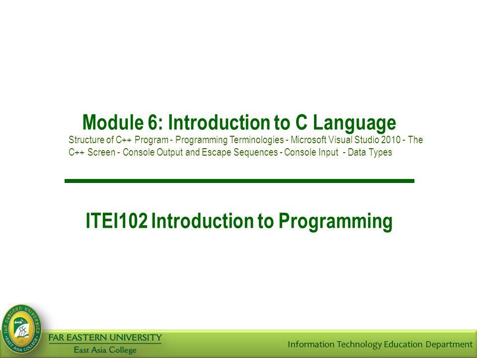 Introduction to C > Microsoft Visual C++ 2
