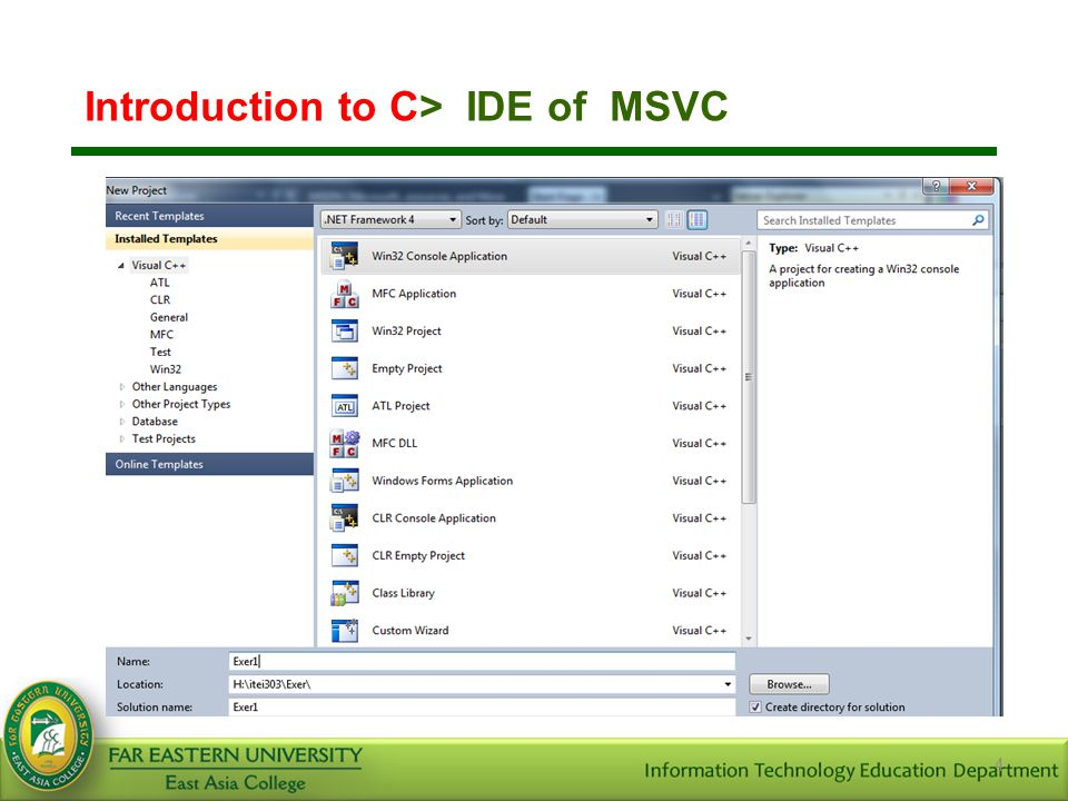 4 Introduction to C> IDE of MSVC