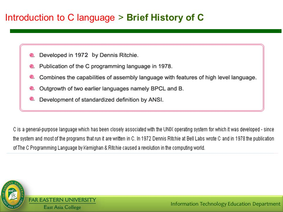 Introduction to C language > Brief History of C