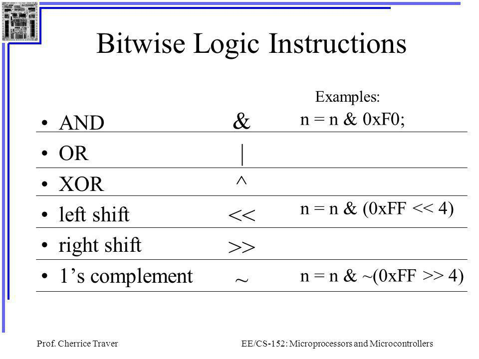 Prof. Cherrice TraverEE/CS-152: Microprocessors and Microcontrollers Bitwise Logic Instructions AND OR XOR left shift right shift 1's complement & | ^