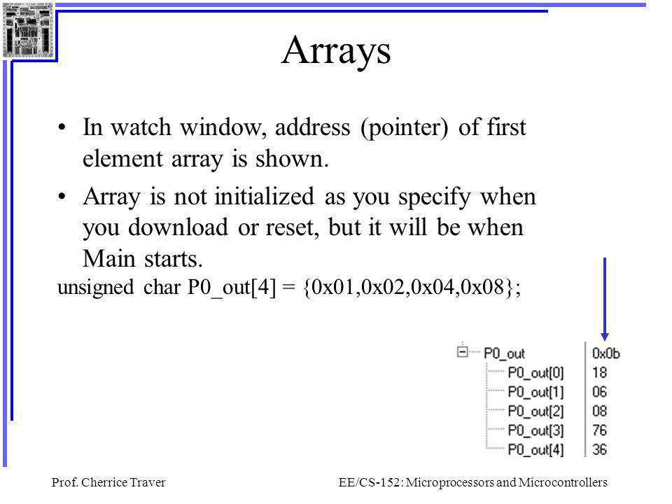 Prof. Cherrice TraverEE/CS-152: Microprocessors and Microcontrollers Arrays In watch window, address (pointer) of first element array is shown. Array