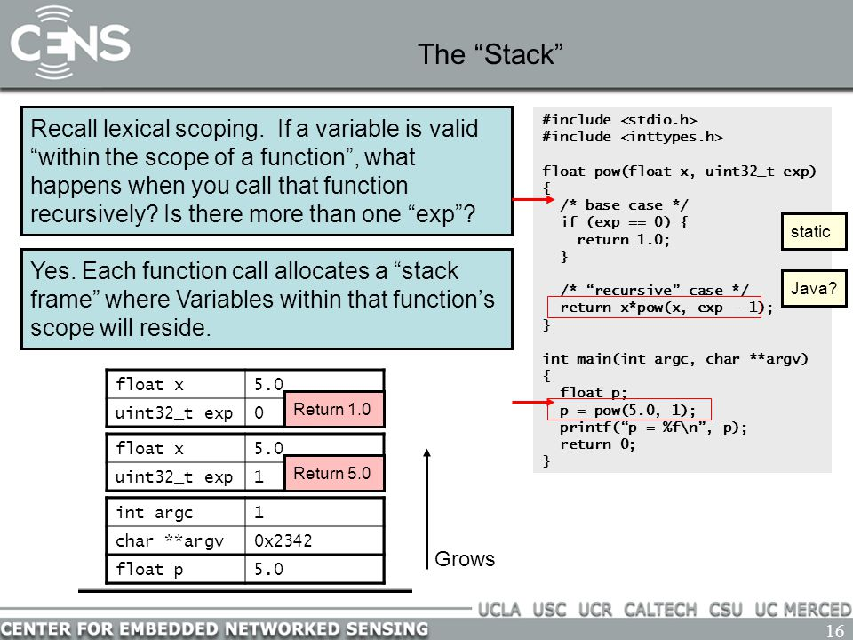 """16 The """"Stack"""" Recall lexical scoping. If a variable is valid """"within the scope of a function"""", what happens when you call that function recursively?"""