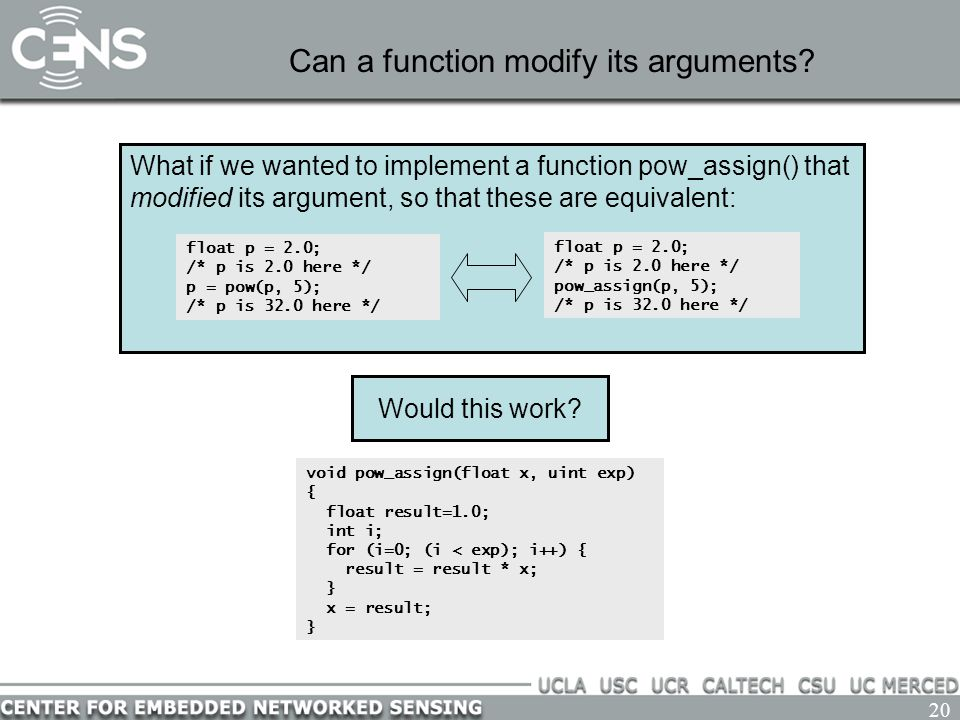 20 Can a function modify its arguments.