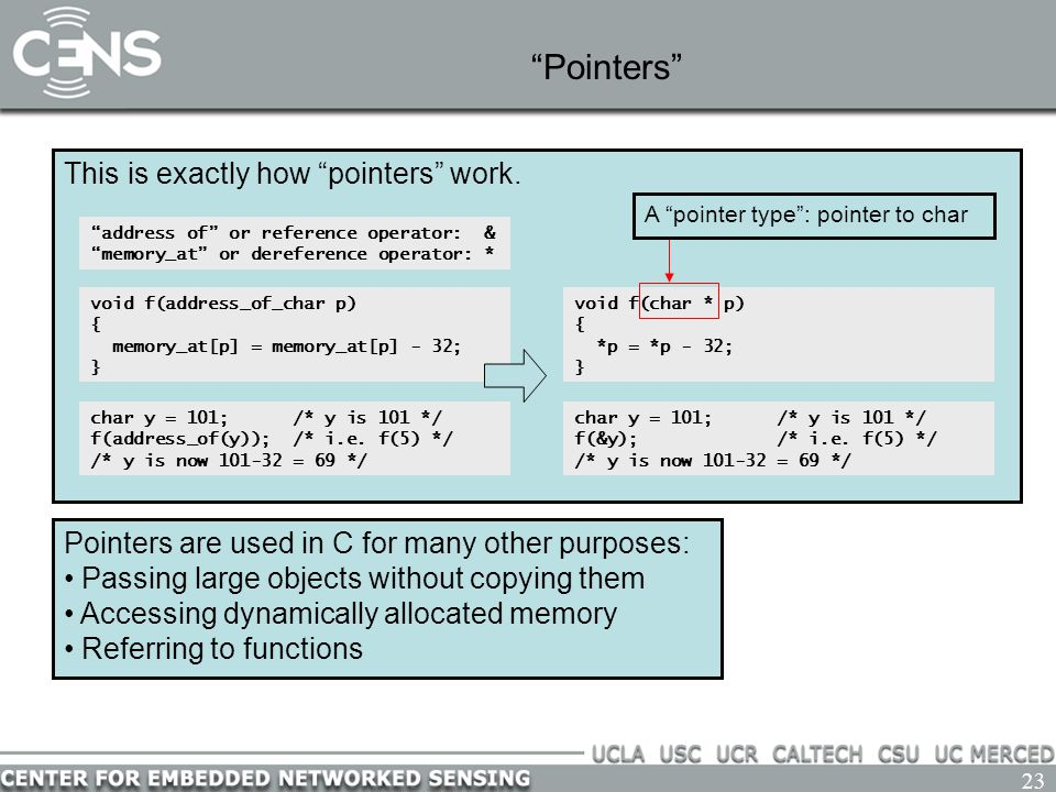 """23 """"Pointers"""" This is exactly how """"pointers"""" work. """"address of"""" or reference operator: & """"memory_at"""" or dereference operator: * void f(char * p) { *p"""