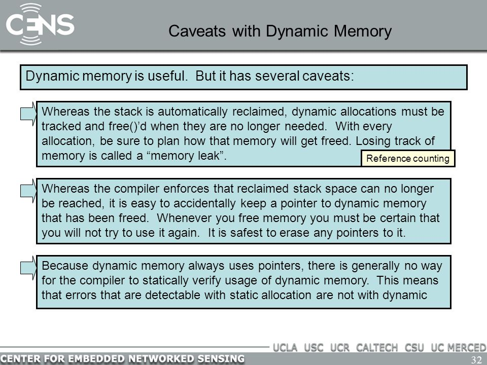 32 Caveats with Dynamic Memory Dynamic memory is useful. But it has several caveats: Whereas the compiler enforces that reclaimed stack space can no l