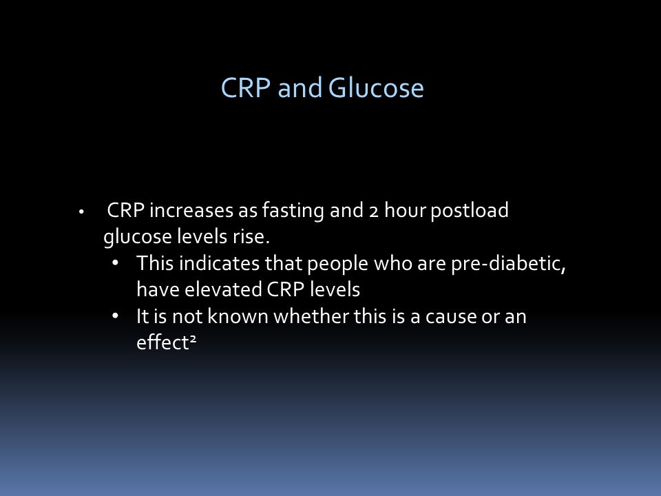 CRP increases as fasting and 2 hour postload glucose levels rise.