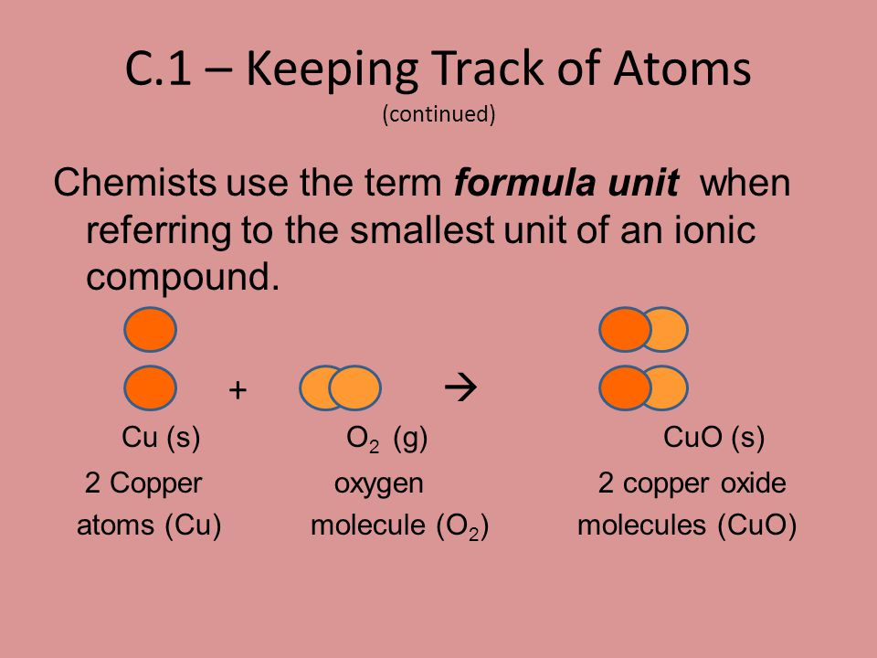 C.7 – Equations and Molar Relationships Let's revisit copper-refining… 2 CuO(s) + C(s)  2 Cu(s) + CO 2 (g) Alternatively stated… 2 mol CuO + 1 mol C  2 mol Cu + 1 mol CO 2 In this example, for every t wo moles of CuO that react, o ne mole of CO 2 is produced.