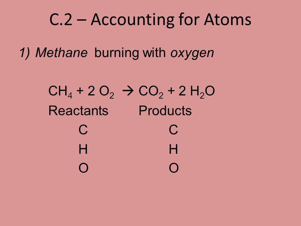 C.4 – Writing Chemical Equations (continued) 3. __ O 3  __ O 2 Reactants Products O O