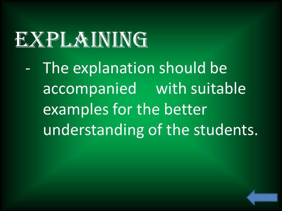 Explaining -The explanation should be accompanied with suitable examples for the better understanding of the students.