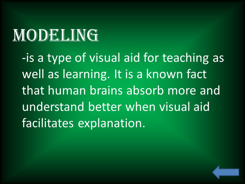 Modeling -is a type of visual aid for teaching as well as learning.
