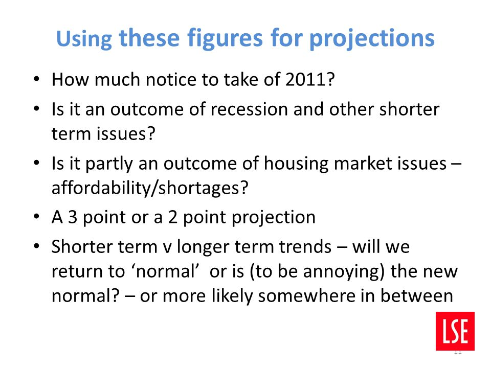 Using these figures for projections How much notice to take of 2011.