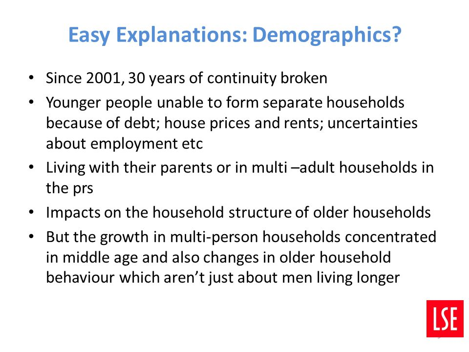 Easy Explanations: Demographics? Since 2001, 30 years of continuity broken Younger people unable to form separate households because of debt; house pr