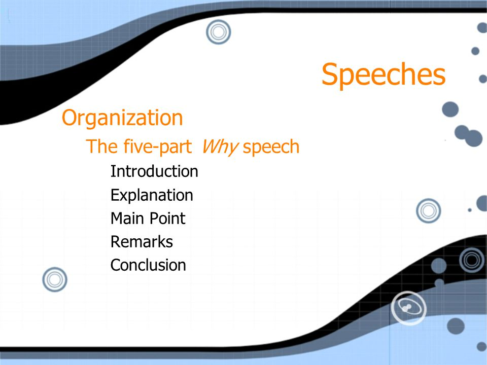 Speeches Organization The five-part Why speech Introduction Explanation Main Point Remarks Conclusion Organization The five-part Why speech Introduction Explanation Main Point Remarks Conclusion