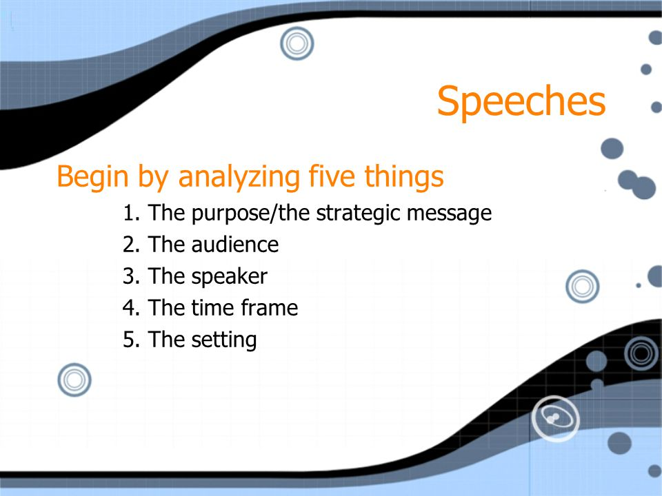 Speeches Begin by analyzing five things 1. The purpose/the strategic message 2. The audience 3. The speaker 4. The time frame 5. The setting Begin by