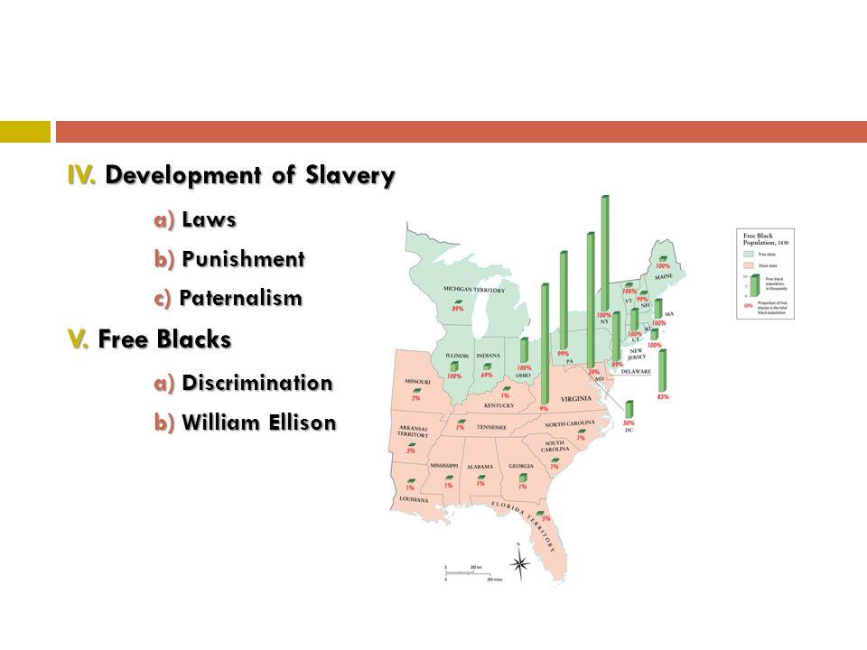 IV. Development of Slavery a) Laws b) Punishment c) Paternalism V.
