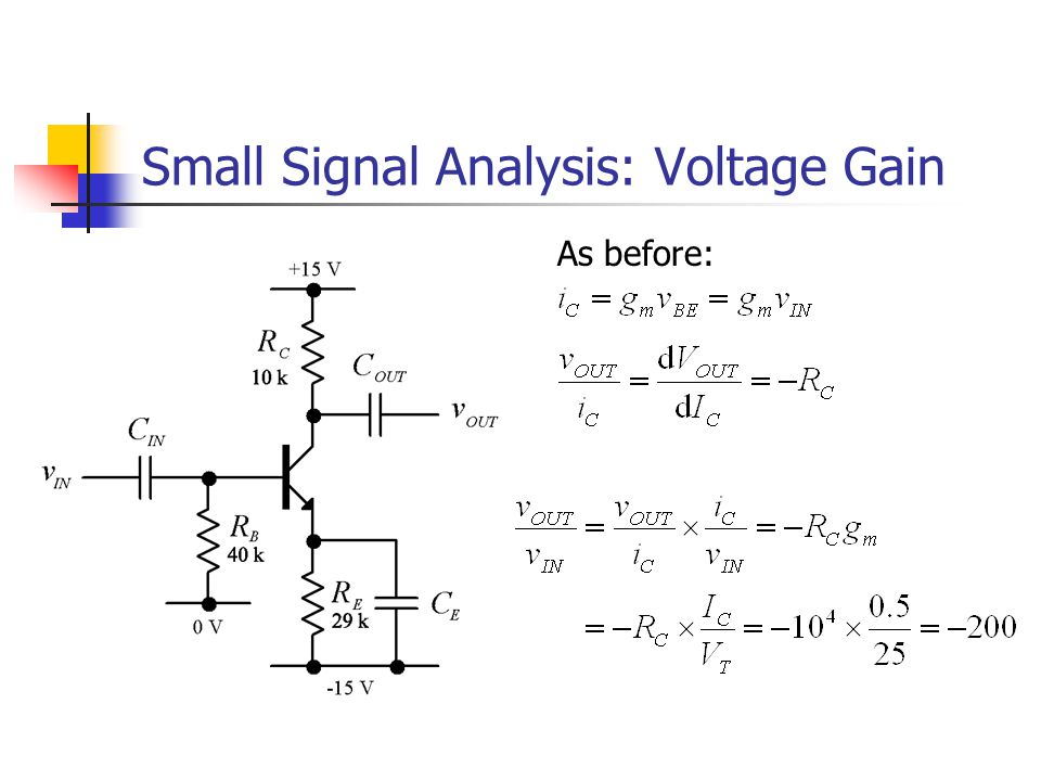 Input and Output Impedance Unlike the op-amp, transistor amplifiers have significant output impedances and finite input impedances R IN can be comparable with the source resistance of the input signal R OUT can be comparable with the load resistance