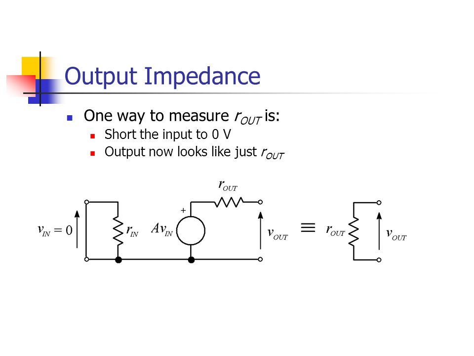 Output Impedance One way to measure r OUT is: Short the input to 0 V Output now looks like just r OUT