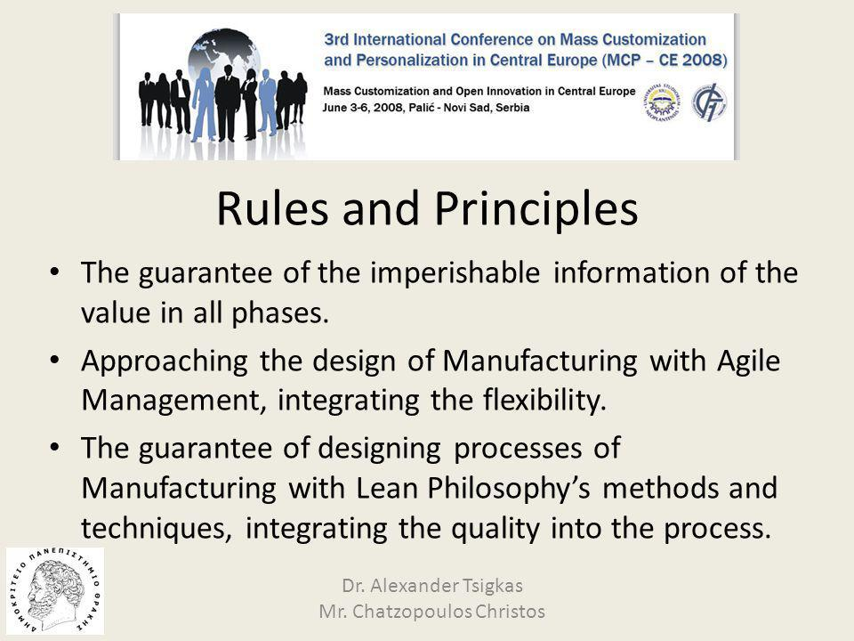 Customer's Value and reduction of time Agile Lean techniques Flexibility Quality Mass Customization ManufacturingFlow Dr.