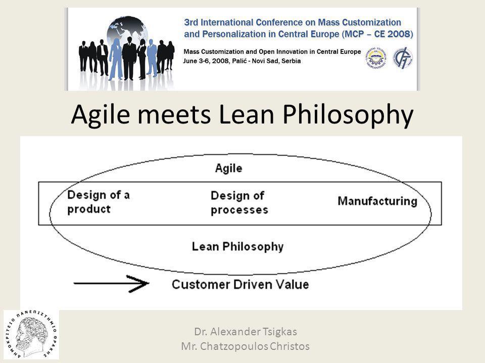 Agile meets Lean Philosophy Dr. Alexander Tsigkas Mr. Chatzopoulos Christos