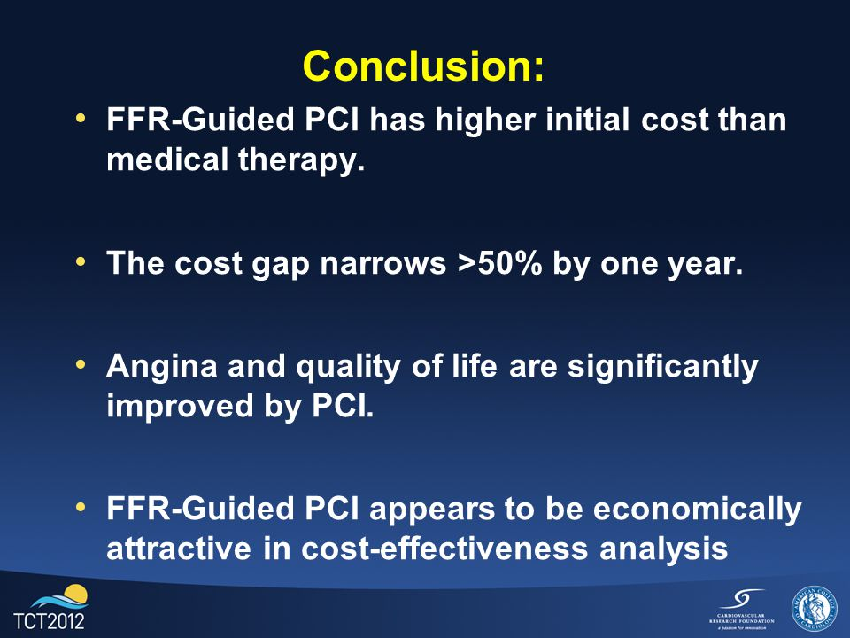 Conclusion: FFR-Guided PCI has higher initial cost than medical therapy. The cost gap narrows >50% by one year. Angina and quality of life are signifi