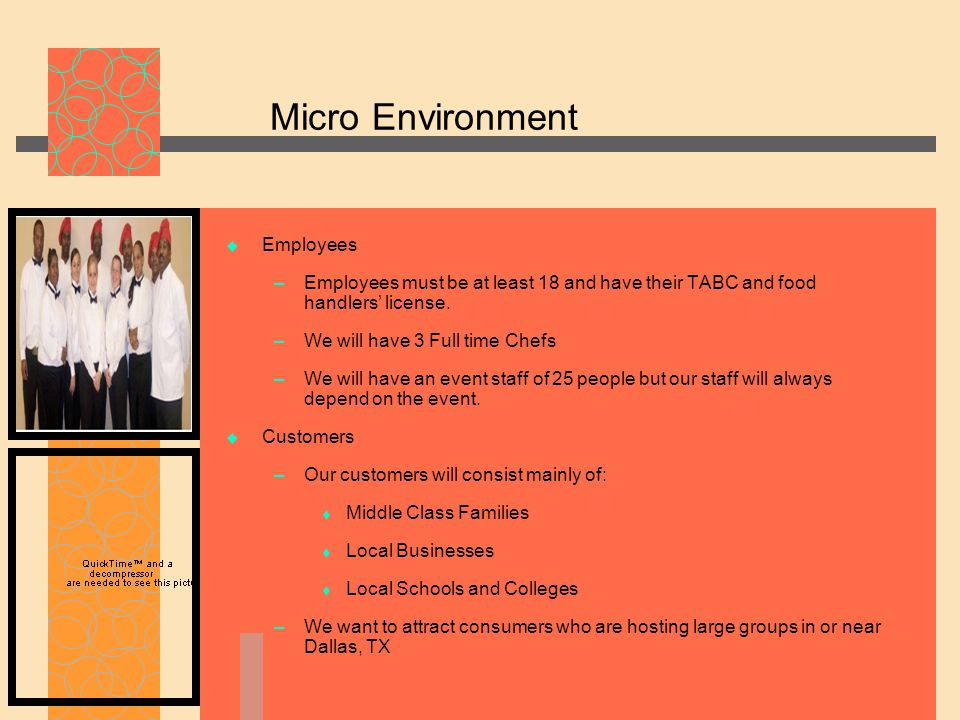 Micro Environment  Employees – Employees must be at least 18 and have their TABC and food handlers' license.