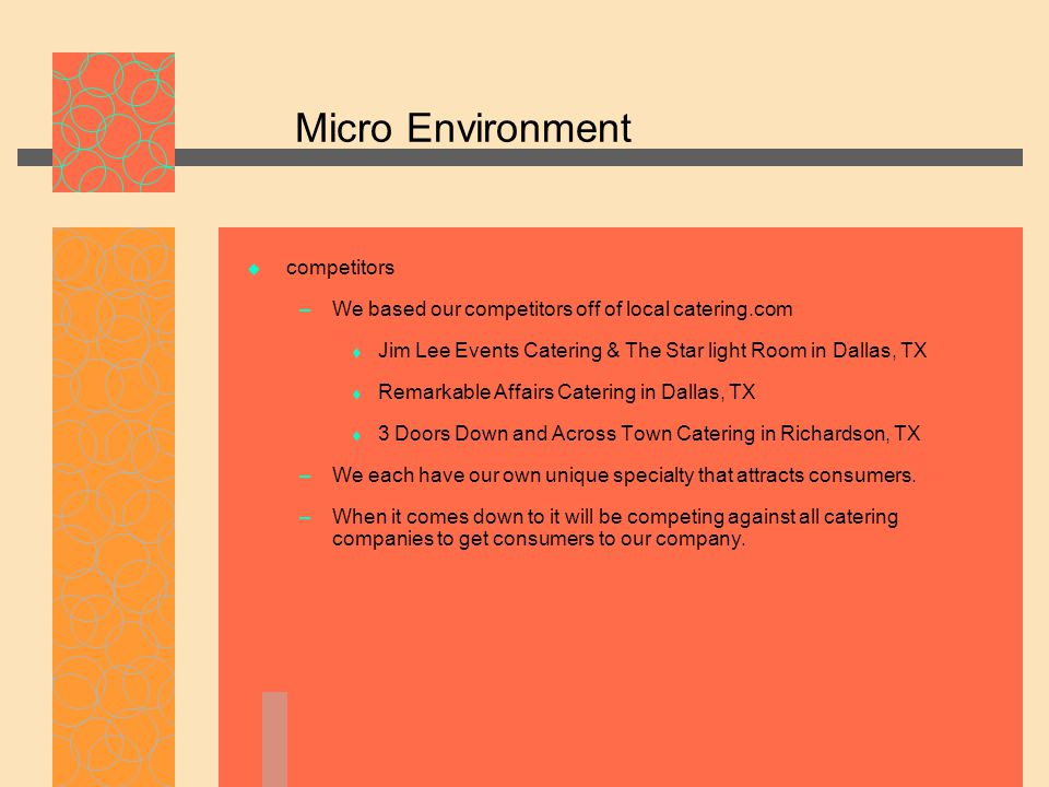 Micro Environment  competitors – We based our competitors off of local catering.com  Jim Lee Events Catering & The Star light Room in Dallas, TX  R