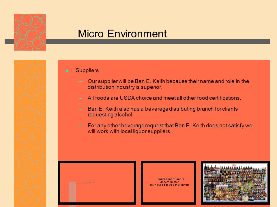 Micro Environment  Suppliers – Our supplier will be Ben E. Keith because their name and role in the distribution industry is superior. – All foods ar