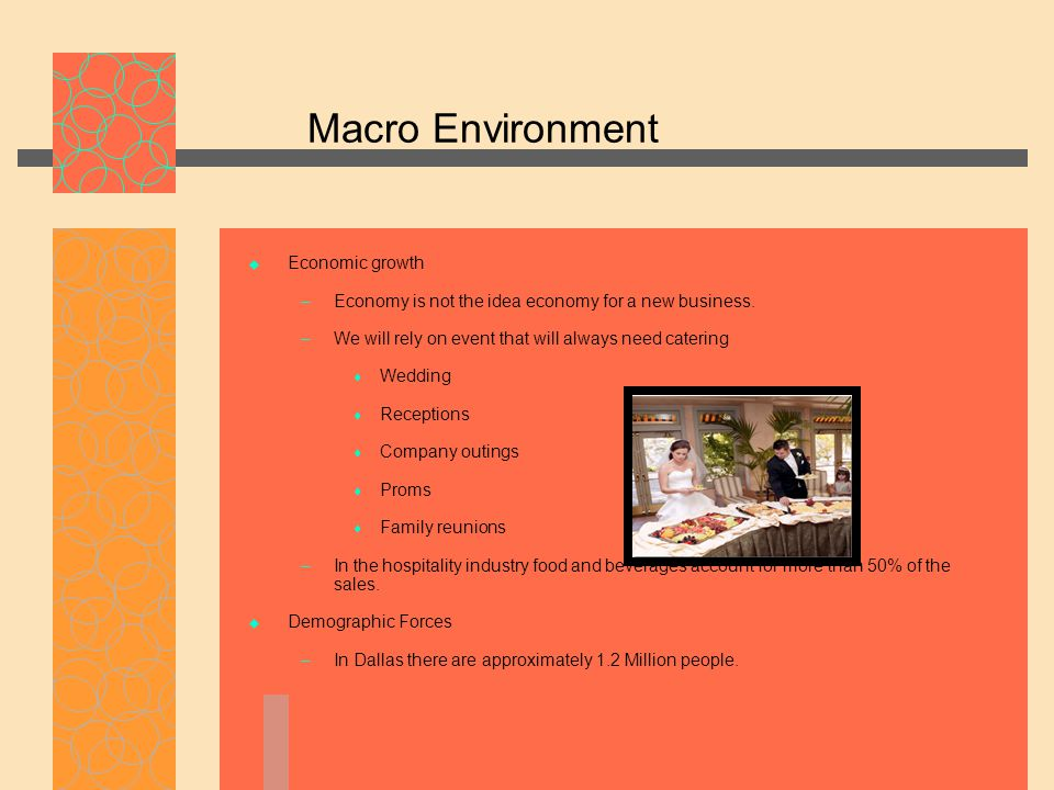 Macro Environment  Economic growth – Economy is not the idea economy for a new business. – We will rely on event that will always need catering  Wed