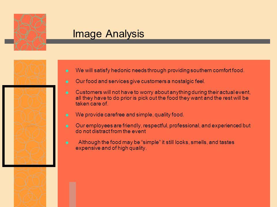 Image Analysis  We will satisfy hedonic needs through providing southern comfort food.