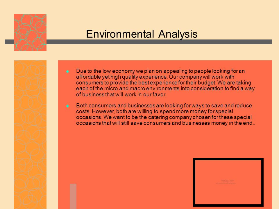 Environmental Analysis  Due to the low economy we plan on appealing to people looking for an affordable yet high quality experience. Our company will