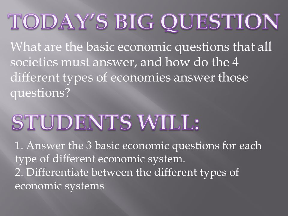 What are the basic economic questions that all societies must answer, and how do the 4 different types of economies answer those questions.