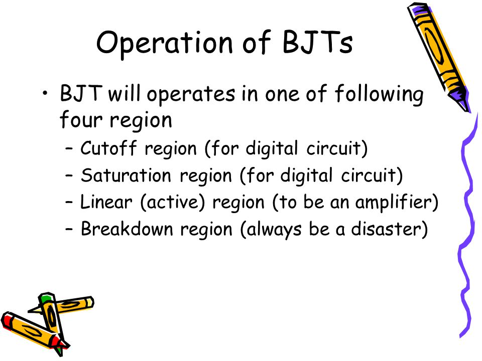 Operation of BJTs BJT will operates in one of following four region –Cutoff region (for digital circuit) –Saturation region (for digital circuit) –Lin