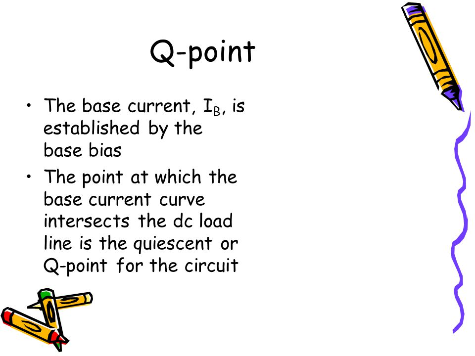Q-point The base current, I B, is established by the base bias The point at which the base current curve intersects the dc load line is the quiescent