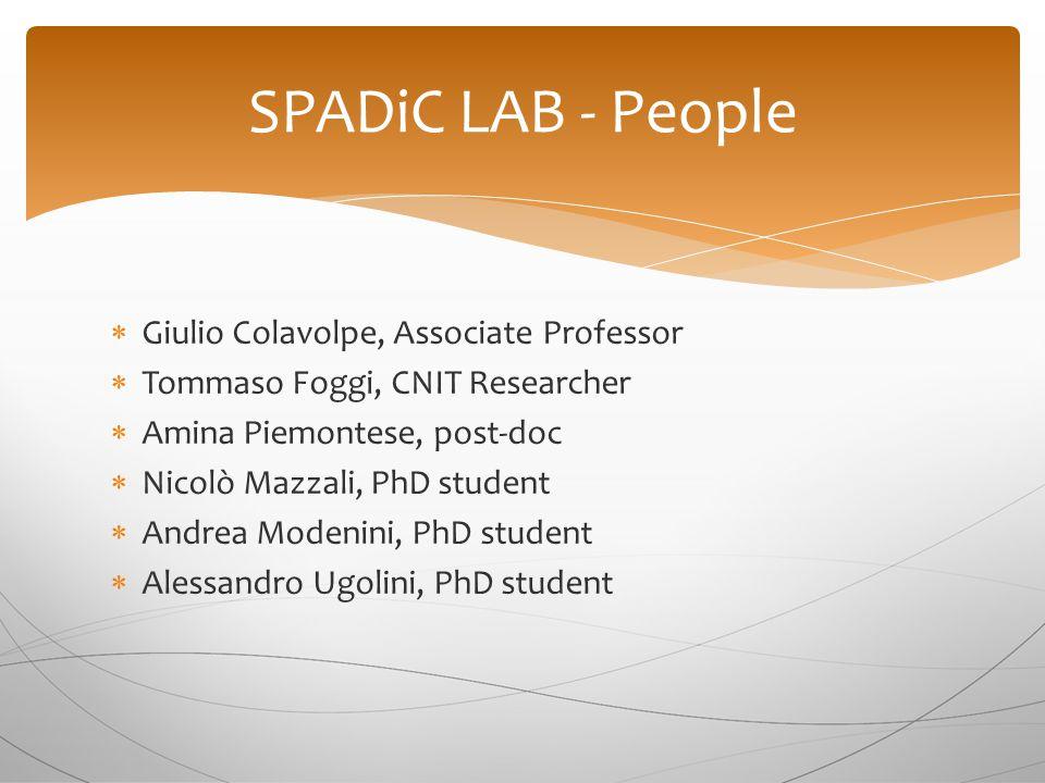  Giulio Colavolpe, Associate Professor  Tommaso Foggi, CNIT Researcher  Amina Piemontese, post-doc  Nicolò Mazzali, PhD student  Andrea Modenini,