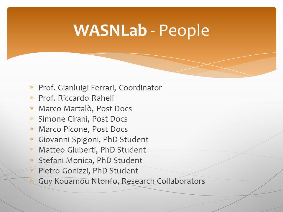  Prof. Gianluigi Ferrari, Coordinator  Prof. Riccardo Raheli  Marco Martalò, Post Docs  Simone Cirani, Post Docs  Marco Picone, Post Docs  Giova