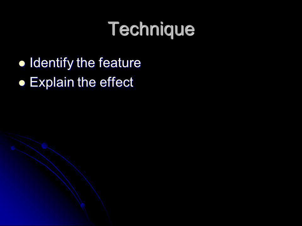 Technique Identify the feature Identify the feature Explain the effect Explain the effect
