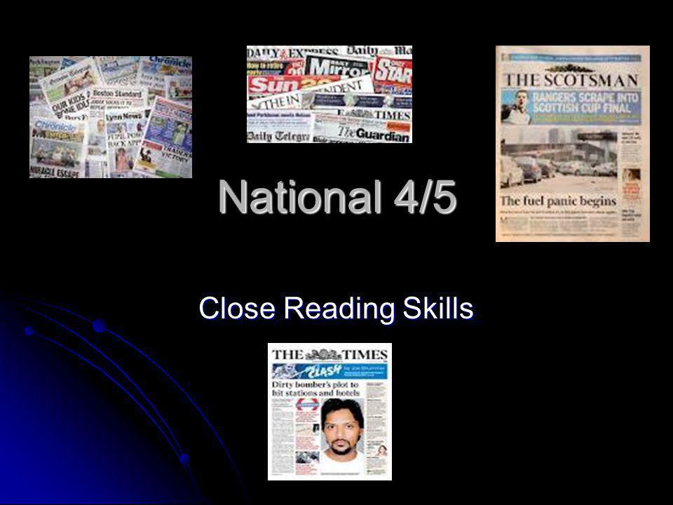 National 4/5 Close Reading Skills