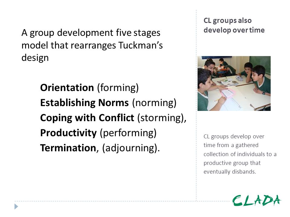 CL groups also develop over time CL groups develop over time from a gathered collection of individuals to a productive group that eventually disbands.