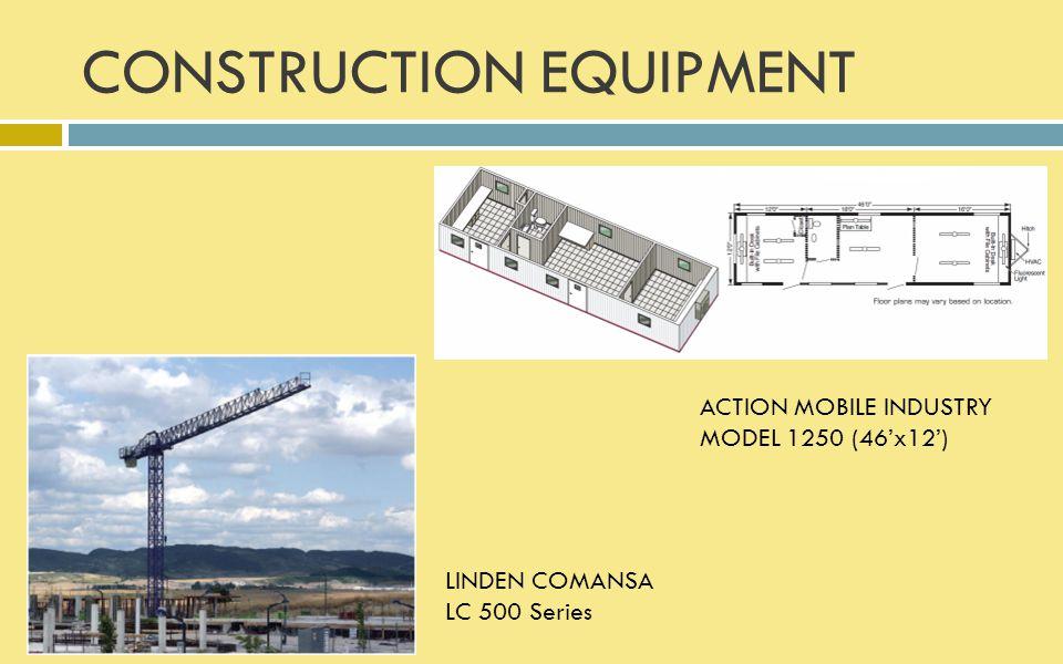 CONSTRUCTION EQUIPMENT ACTION MOBILE INDUSTRY MODEL 1250 (46'x12') LINDEN COMANSA LC 500 Series