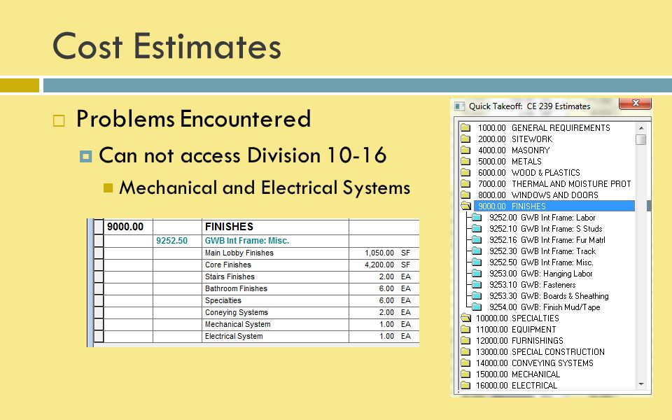 Cost Estimates  Problems Encountered  Final cost estimates from Timberline does not match cost estimates given in excel sheet