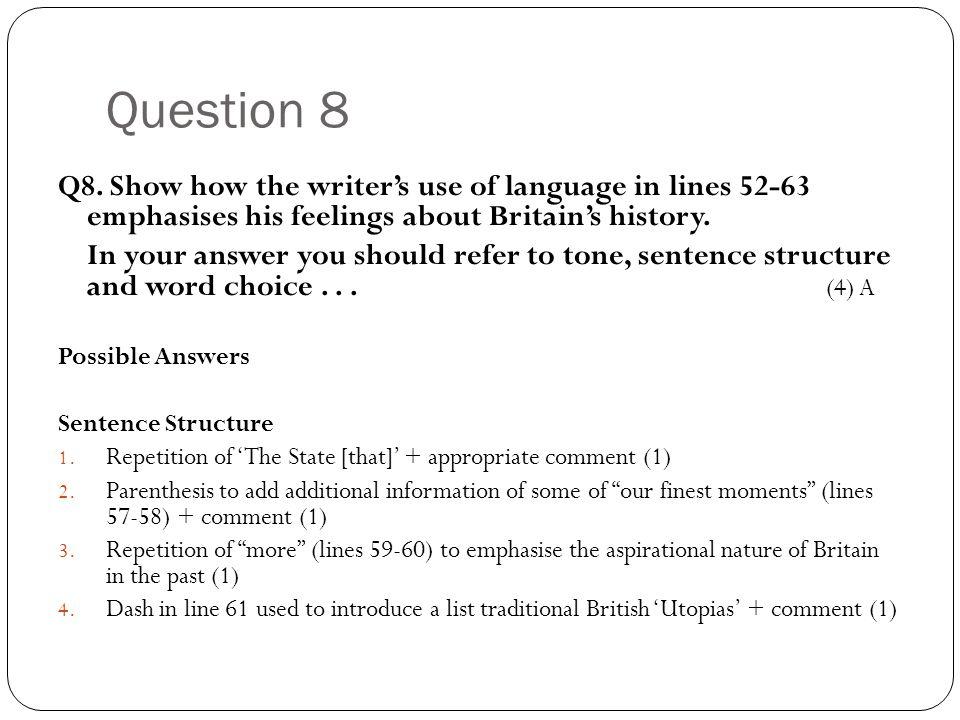 Question 8 Q8.