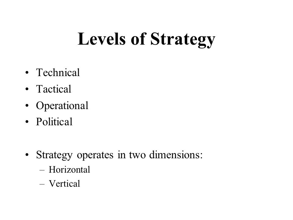 Levels of Strategy Technical Tactical Operational Political Strategy operates in two dimensions: –Horizontal –Vertical