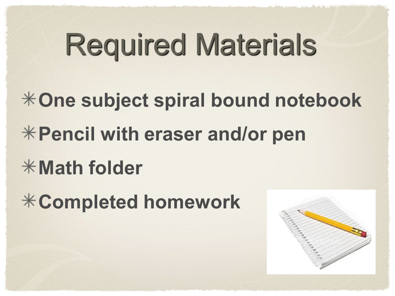 Required Materials One subject spiral bound notebook Pencil with eraser and/or pen Math folder Completed homework