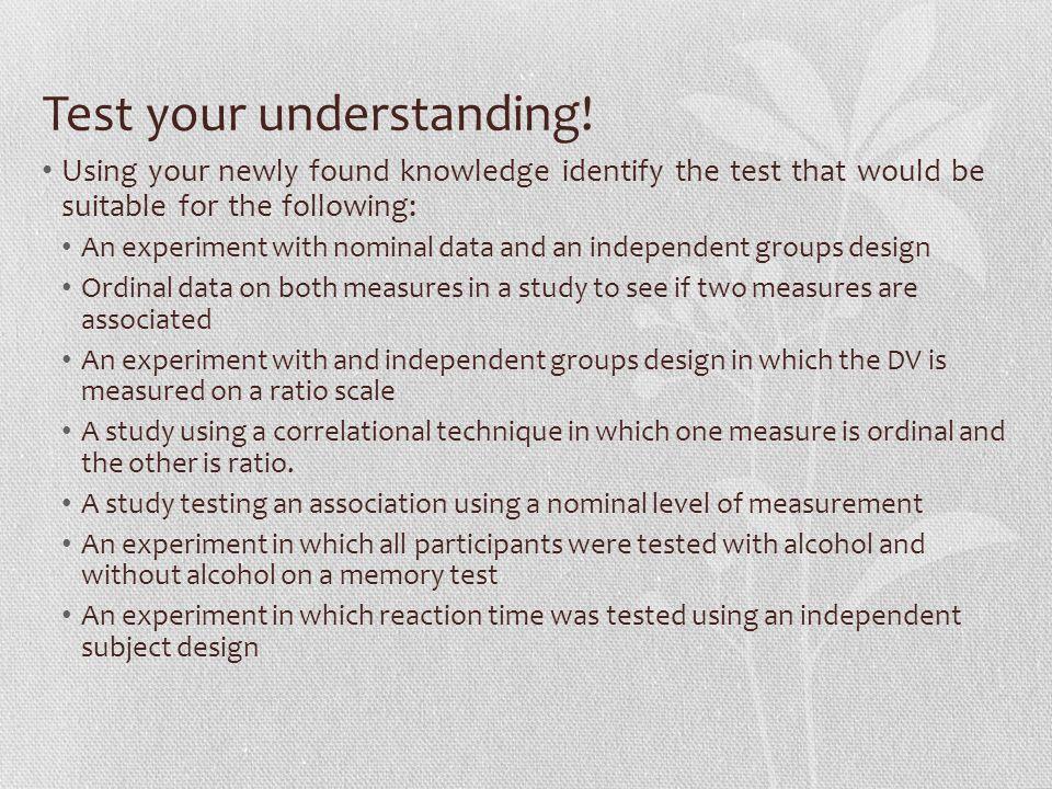 Test your understanding.