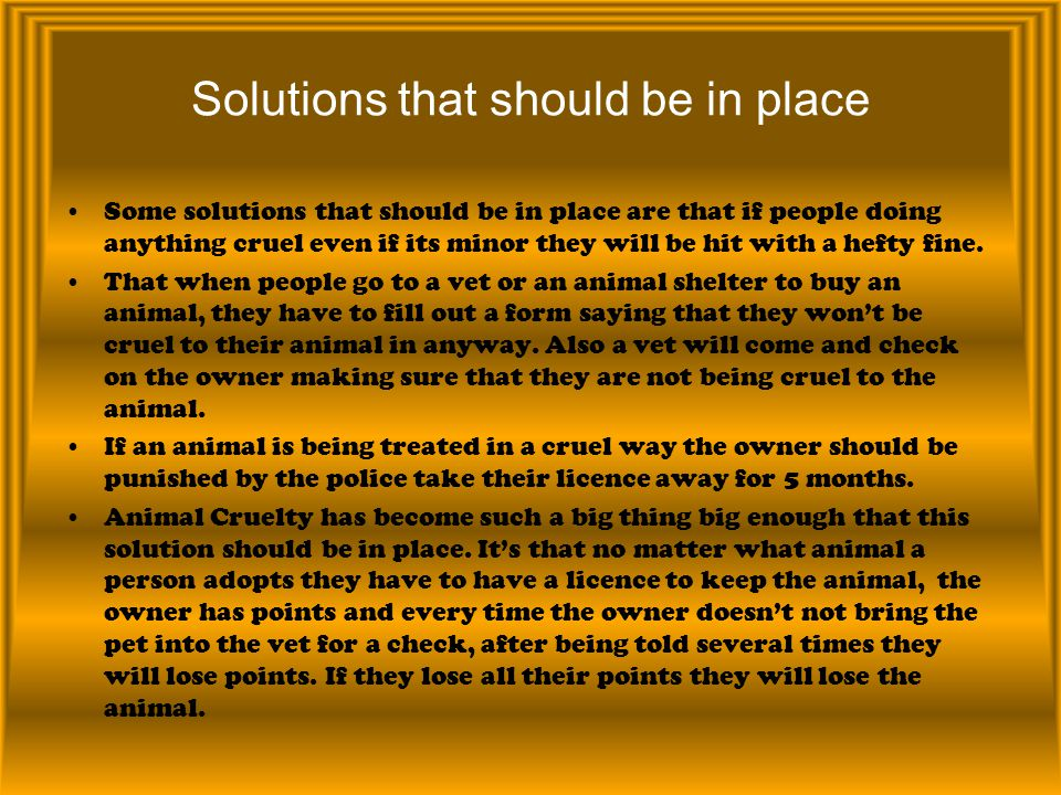 Solutions that should be in place Some solutions that should be in place are that if people doing anything cruel even if its minor they will be hit wi