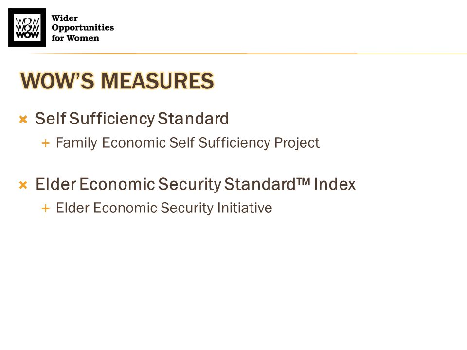 The Elder Economic Security Standard Index for the United States, 2011 Expenses for Selected Household Types Elder Person (age 65+) Elder Couple (both age 65+) Expenses/Monthly and Yearly Totals Owner w/o Mortgage Renter, One Bedroom Owner w/ Mortgage Owner w/o Mortgage Renter, One Bedroom Owner w/ Mortgage Housing (inc.