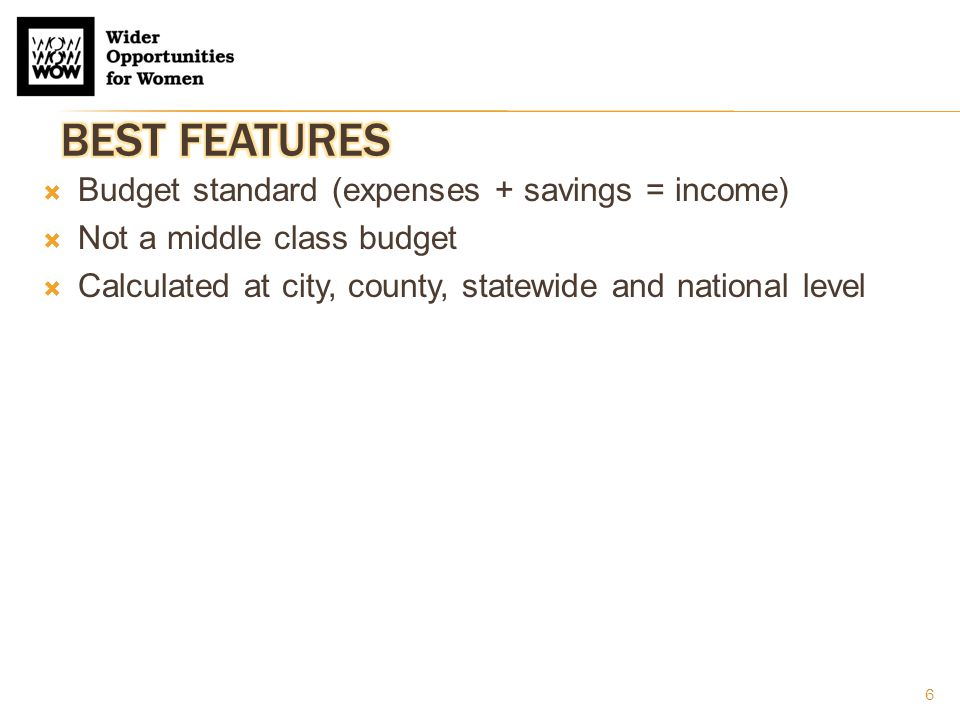 7  Budget standard (expenses + savings = income)  Not a middle class budget  Calculated at city, county, statewide and national level  Addresses large variety of family types  420 family types  One- and two-worker households, with children of different ages (infant, preschooler, schoolchild, teenager)