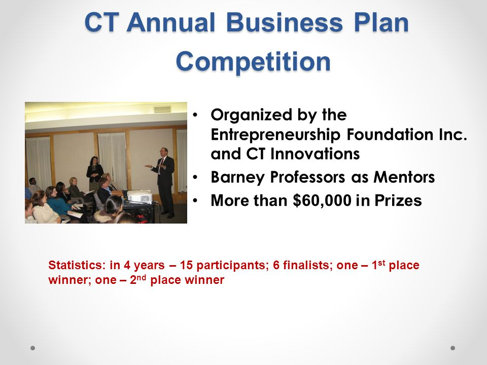 CT Annual Business Plan Competition Organized by the Entrepreneurship Foundation Inc.