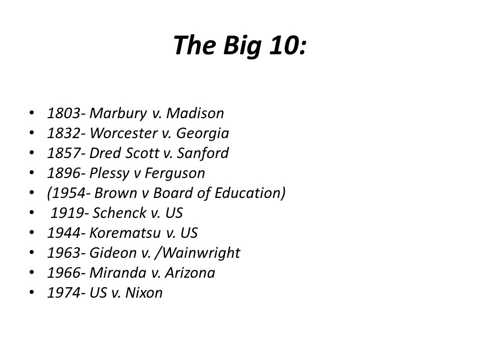 The Big 10: 1803- Marbury v.Madison 1832- Worcester v.